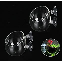 Crystal Glass Aquatic Plant Cup Pot Holder,Fashionclubs Aquarium Tank Live Plant Glass Pot Red Shrimp Holder with 2 Suckers,Fish Tank Aquascape Decor,2-Pack