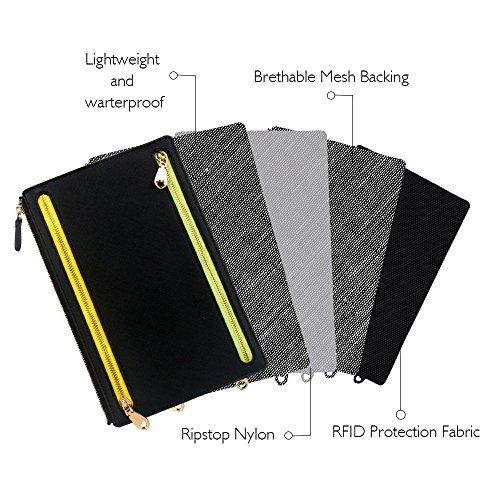 Ticket Travel Wallet & Money Clip,Volin Crik Black PU Leather Multi Zip Pockets Wallet Traveling Accessories by Volin Crik (Image #2)