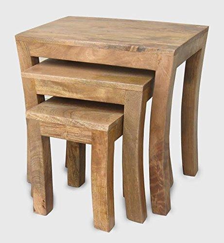 Luxury solid mango wood curved leg contemporary nest of tables luxury solid mango wood curved leg contemporary nest of tables watchthetrailerfo