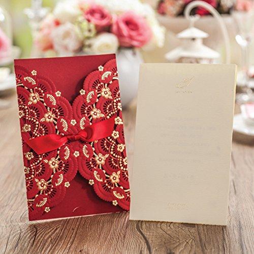 Red Lace Flower Invitation Cards Laser Cut Hollow-out Floral with Ribbon Bow Wedding Announce Invitations CW5113 (100) by Wishmade (Image #4)