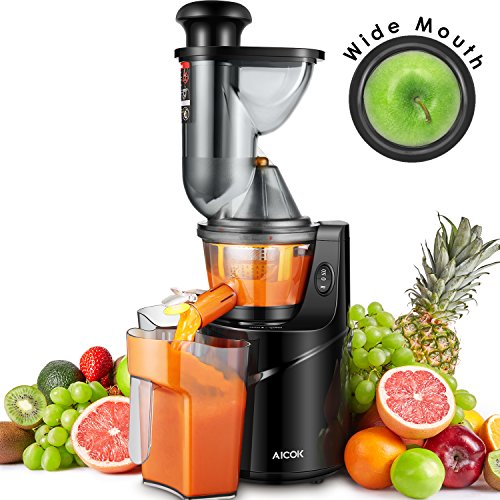 "Juicer Masticating Slow Juicer, Aicok 3"" Whole Juicer Chute for Fruits and Vegetables, Quiet Motor & Reverse Function, Cold Press Juicer Machine Easy to Clean with Pre-Clean Function and Brush"