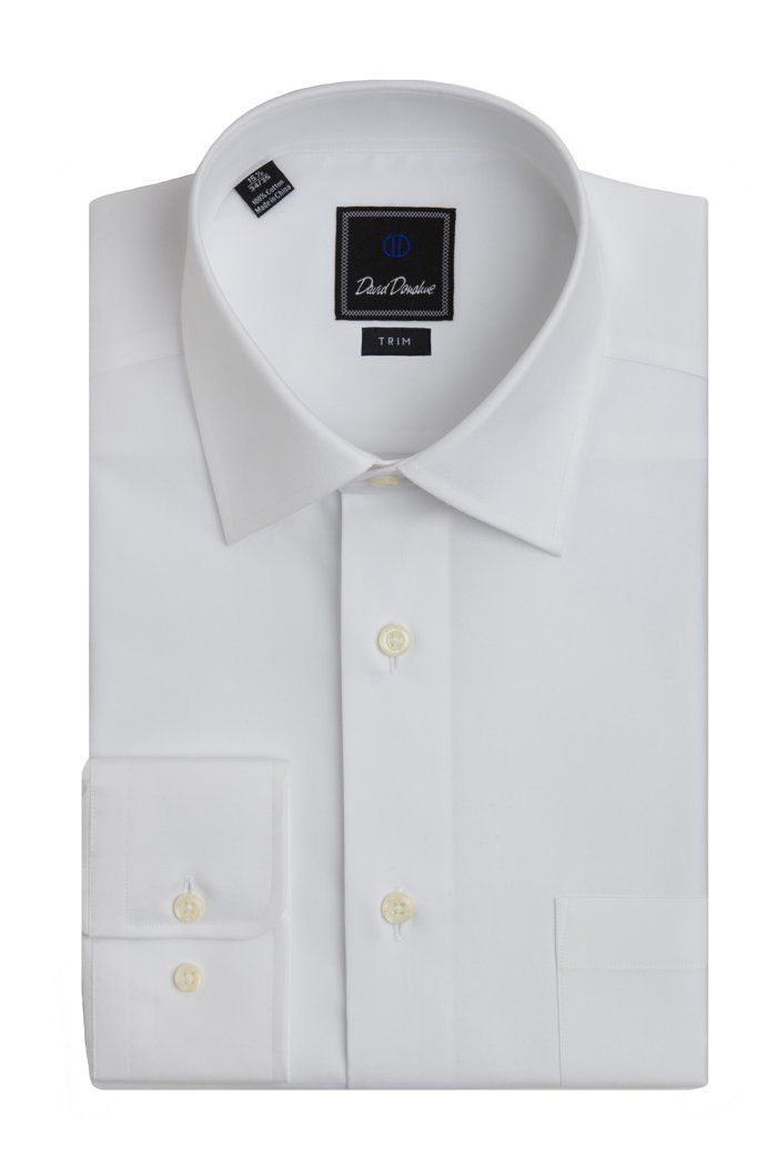 David Donahue Men's Super Fine Twill Trim Fit Dress Shirt 16 - 34/35 White
