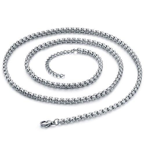 Collier pendentif en acier inoxydable, pour les hommes, Crâne, Gothique, chaîne à maillons ronds