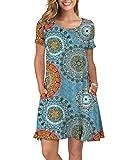KORSIS Women's Summer Floral Dresses T Shirt Dress Flower Mix Blue XL
