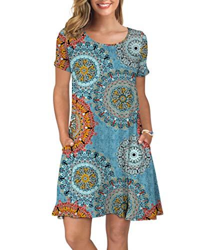 KORSIS Women's Summer Floral Dresses Short Sleeve Tunic T Shirt Swing Dresses Flower Mix Blue L