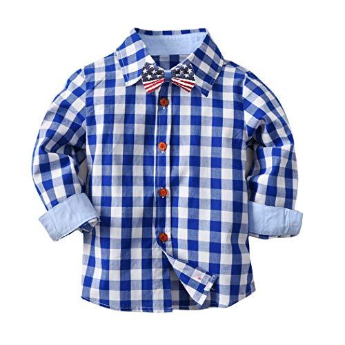 FUNOC Baby Boys Girls Flannel Shirt Long Sleeve Button Down Plaid Shirt (1-7Y) (3-4 Years, Blue)