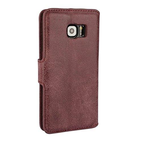 Funda Iphone, Para Samsung Galaxy S6 Edge Frosted Textura horizontal Flip caja de cuero con ranuras para tarjetas y cartera y titular ( Color : Orange ) Dark Red