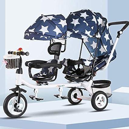 JHGK Triciclo para Niños, Triciclo Doble De Acero con Alto Contenido De Carbono, Bicicleta, Biplaza, Tricycle para Niños, Asiento Delantero, Triciclo Giratorio para Niños