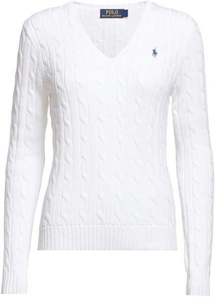 Ralph Lauren Polo, cuello en V, algodón, color blanco: Amazon.es ...