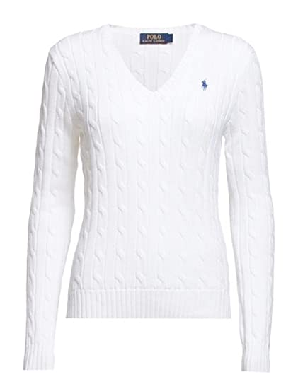 Ralph Lauren Polo, cuello en V, algodón, color blanco: Amazon.es ...