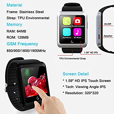 YAMAY® Universal Bluetooth Smartwatch U11 OLED One Touch Screen Fitenss Wrist Smart Watch Phone With SIM Card Running Sport Tracker Pedometer for Android & iOS Samsung iPhone Cellphone Men Women