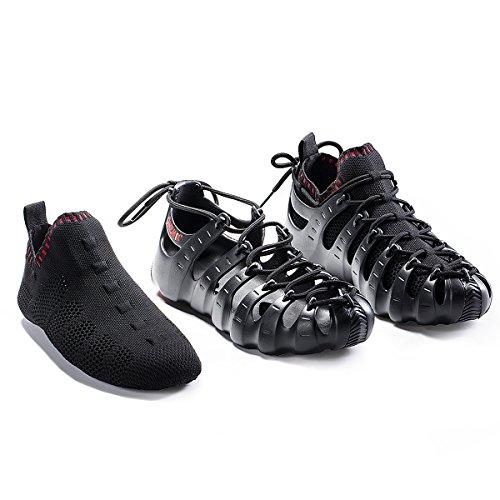 ONEMIX Herren Damen Sneakers leichte atmungsaktive Outdoor Wanderschuhe sockenähnliche Turnschuhe Schwarz Rot