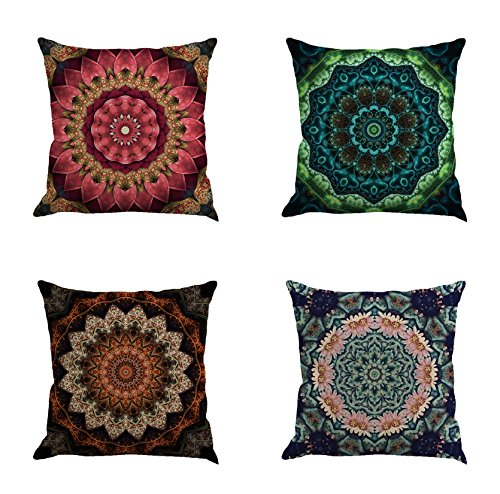 - Ussuperstar Set of 4 Mandala Pattern Throw Pillow Covers Boho Cushion Cover Farmhouse Throw Pillow Case 18 X 18 inch Pillowcase Home Dorm. Decor (Boho 05)