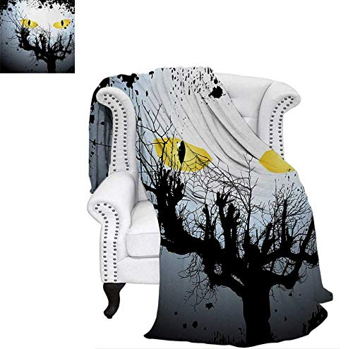 - Warm Microfiber All Season Blanket Scary Eyes Backgrounded Leafless Old Branch Angry Hunt Cat Animal Creature Print Artwork Image 80