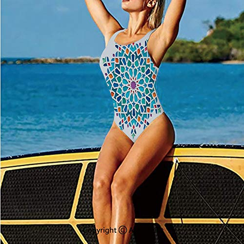(Fashion Swimming Suit,of Old Eastern Arabesque Ethnic Damask,High Cut Swim-Suit )