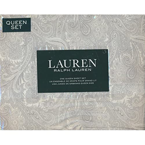 Wholesale Lauren Ralph Lauren Queen Size 4 Piece Sheet Set - 100% Cotton - Pale Gray Paisley on White Background for sale