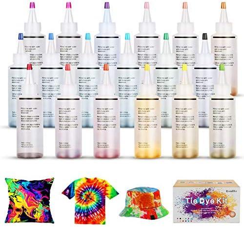 Ucradle Tie Dye Kit, Textiles de Tela 18 Piezas Colores Pinturas Ropa, Tintes Textiles Brillantes Tie Dye, Adecuado para Arte de Bricolaje Tie-Dye ...