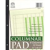 Norcom Columnar Pad, 6 Columns, 11 x 8.5 Inches, 50 Sheets (76706-10)