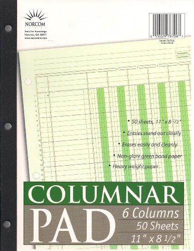 Norcom Columnar Pad, 6 Columns, 11 x 8.5 Inches, 50 Sheets (Accounting Ledger Book)