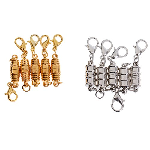 Jili Online 10 Pieces Ridged Spiral Jewellery Clasp Lobster Hook Magnetic Fastener Necklace -