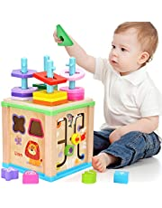 Elover Wooden Activity Cube Multifunction Toys with Bead Maze Shape Sorter Stacker Block Activity Center Early Educational Learning Toys for Kids Toddlers