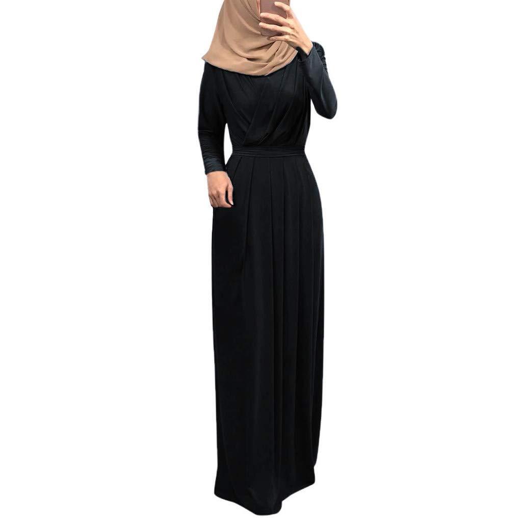 Black Oldsch001 Womwen 's Long Pleated Neck Pull Waist Muslim Plowy Maxi Dress