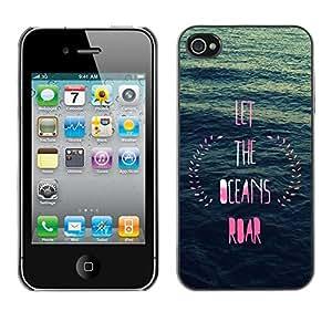 Océano inspirada rosa guirnalda azul - Metal de aluminio y de plástico duro Caja del teléfono - Negro - iPhone 4 / 4S
