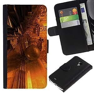 KingStore / Leather Etui en cuir / Samsung Galaxy S4 Mini i9190 / Dise?o architectue Futuro de Oro Amarillo