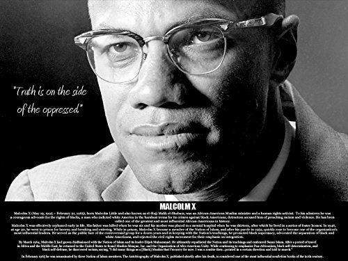 Malcolm X Poster Truth Is on the Side of the Oppressed with Bio Print African American Black History (18x24)