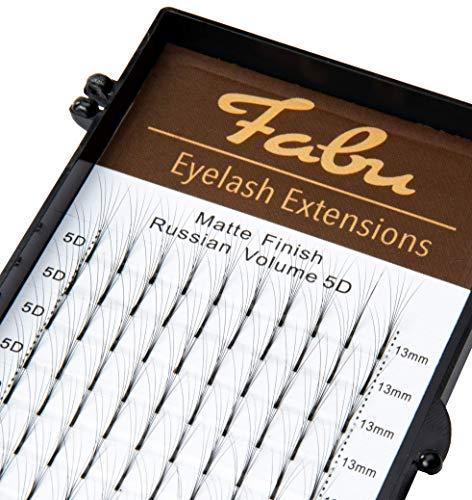 Fabu Eyelash Extensions Russian Volume 5D Fans, Thickness/Diameter 0.07, D curl, ONE LENGTH PER TRAY 9mm   10mm   11mm   12mm   13mm   14mm   15mm (13mm)