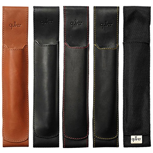 Extra Large Two Pen Holder Quiver, Leather Pen Holder For Notebooks, Stylus Holder For Tablets, Pen Case  Pen Sleeve, A4, 9.25 – 12.0 tall, (23.5 c…