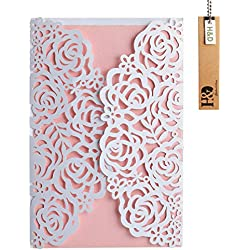 White Laser-cut Lace Flower Pattern with Pink inner Wedding Invitations Cards(24PCS)