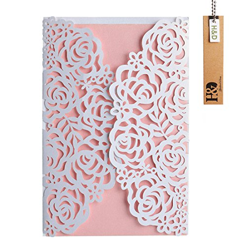 White Laser-cut Lace Flower Pattern with Pink inner Wedding Invitations (Pink Floral Wedding Invitation)
