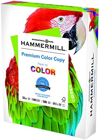 Hammermill Printer Paper, Premium Color 32 lb Copy Paper, 8.5 x 11 - 1 Ream (500 Sheets) - 100 Bright, Made in the United States, white (102630)