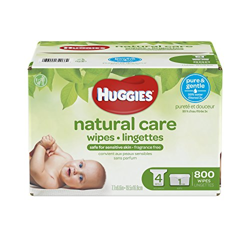 HUGGIES NATURAL CARE Fragrance-Free & Hypoallergenic Baby Wipes (1 Tub, 4X Refill Packs, 800 Count)