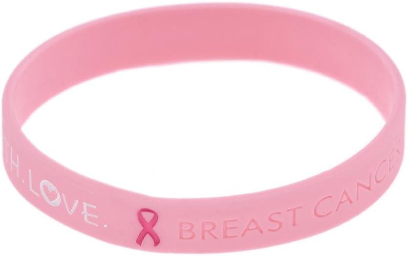 YNuth Pulsera Silicona de Conciencia del Cáncer de Mama de Coraje Fe y Amor Color Rosado Cancer de Mama Pulsera
