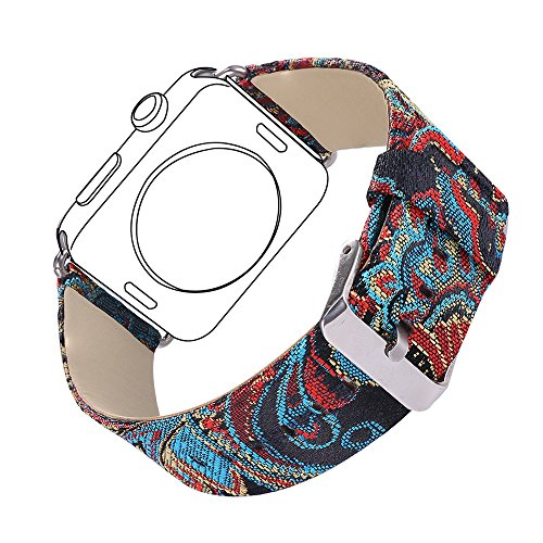 Bandmax Fabric Replacement Strap Compatible for Apple Watch, Bandmax Stainless Steel Metal Clasp Buckle Comfortable Denim Fabric Watch Band Compatible iwatch Series 4/3/2/1(Ethnic Style 38MM/40MM)
