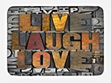 Ambesonne Live Laugh Love Bath Mat, Saying Promoting The Sacred Values of Human Life in Colorful a Pattern, Plush Bathroom Decor Mat with Non Slip Backing, 29.5 W X 17.5 W Inches, Multicolor