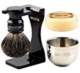 "Shaving Set, 4in1 Anbbas Pure Black Badger Shaving Brush with Long Resin Handle and Acrylic Anti-impact Shaving Stand,Soap Bowl Stainless Steel Dia3.2"" and Goat Milk Shaving Soap 100g Men Gift Kit"