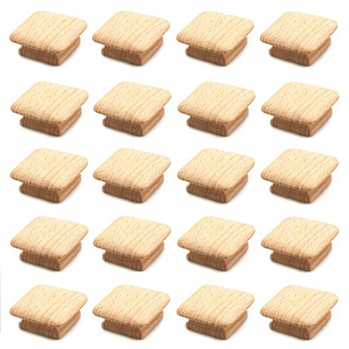 Unfinished Wood Knob (WEICHUAN 20PCS Square Unfinished Wood Drawer Knobs Pulls Handles - Cabinet Furniture Wardrobe Door Drawer Knobs Pulls Handles (Length And Width: 1-3/4