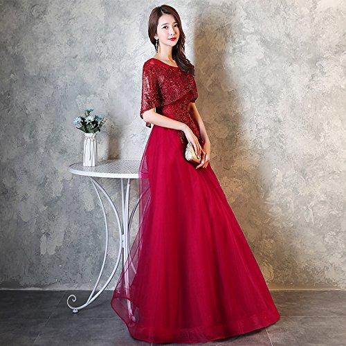 Sera Abito JKJHAH Banchetto red Abito Elegante Da Femminile Da Rosso Wine Da Sera qX4a0q