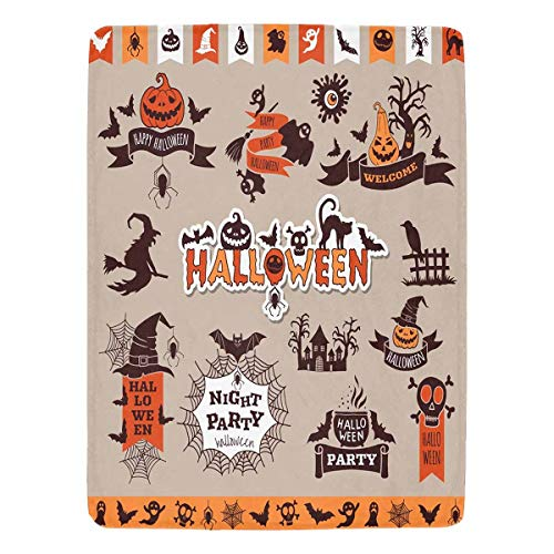InterestPrint Collection Halloween Elements for Holiday Party Fleece Blanket for Bed Couch Chair Daybed Twin Size 60 x 80 Inches]()
