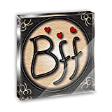 BFF Best Friends Forever Love Hearts Acrylic Office Mini Desk Plaque Ornament Paperweight