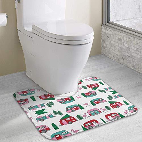 Beauregar Christmas Camper Vintage Flamingo Cute Pink Bath Rugs,U-Shaped Bath Mats,Soft Polyester Bathroom Carpet,Nonslip Toilet Floor Mat 19.2″x15.7″