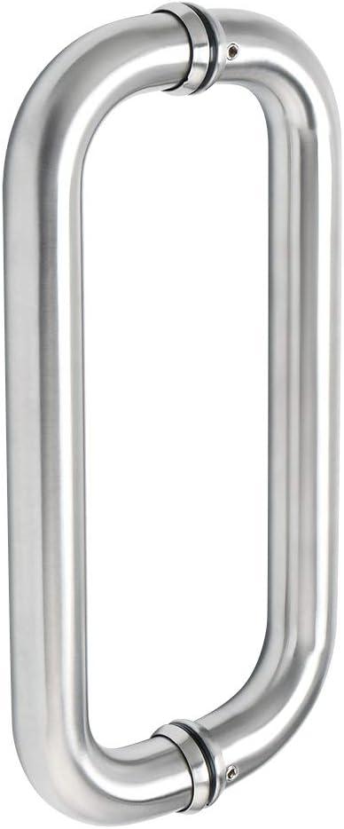 Sayayo Acero inoxidable Empuje las manijas de la puerta de empuje Internas para la ducha del baño Las manijas de las puertas de granero corredizas son redondas, 11 pulg, ELS1010-LS