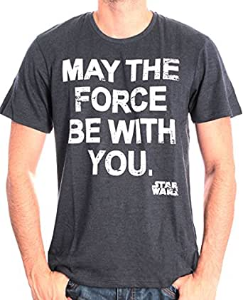STAR WARS May The Force, Camiseta para Hombre, Blau (Bleu Pale Chiné), 2XL