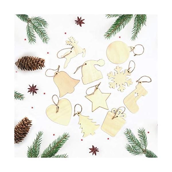 KATELUO 100 Pezzi Decorazioni Natalizie in Legno, Natale Ciondolo in Legno, Decorazioni Albero di Natale in Legno, Ornamenti Natalizi in Legno per Decorare Albero di Natale Fai da Te Etichette Regalo 7 spesavip