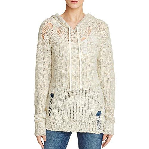 Pam & Gela Womens Wool Shredded Hooded Sweater Ivory (Drawstring Wool Sweater)