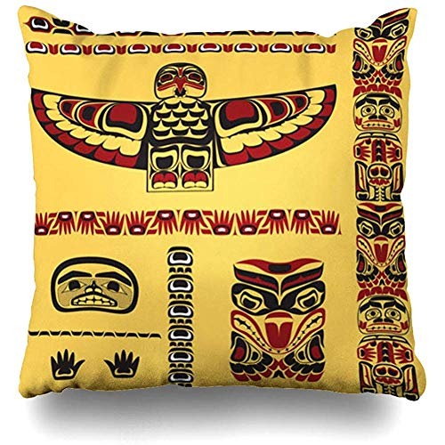 (Throw Pillow Cover Aboriginal Red Canada Canadian Native Totem Yellow Pattern Inuit Northwest Pacific Indian Cushion Case Home Decor Square Size 18 x 18 Inches Pillowcase)