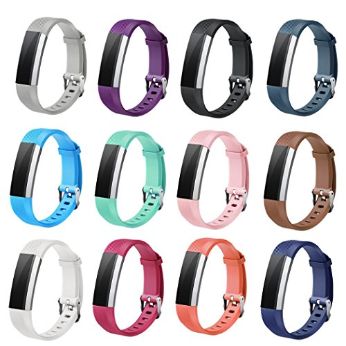 Winsenpro Fitbit Alta HR Bands, 12-Pack Replacement bands for Fitbit Alta and Alta HR, Large Small 12 different colors (12-Pack, Watch Buckle) by Winsenpro